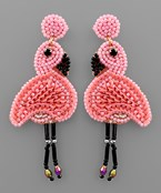 Beaded Flamingo Earrings