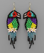Beaded Bird Earrings