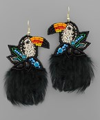 Feather Trim Toucan Earrings