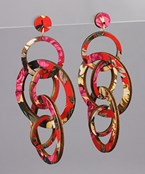 Printed Wood Rings Earrings