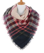 Tartan Pattern Square Scarf w/Raw Edge