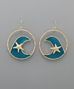 Starfish & Wave Circle Earrings