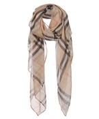 Sheer Plaid Print Scarf