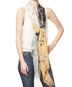 Color Block Flower Print Scarf