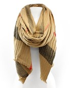 Plaid Pattern Pleated Oblong Scarf
