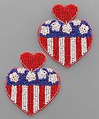 USA Flag Heart Bead Earrings