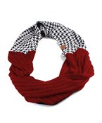Houndstooth & Solid Tone Crochet Infinity Scarf
