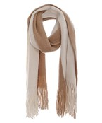 Two Tone Fringe Trim Woven Scarf