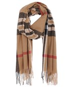 Plaid Pattern Oblong Scarf With Fringe