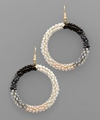 3 Tone Seed Bead Circle Earrings