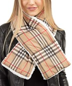 Sherpa Quilted Plaid Oblong Scarf
