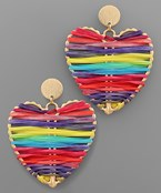 Raffia Wrapped Heart Earrings