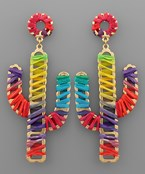 Raffia Wrapped Cactus Earrings