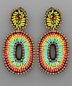 Beaded Double Oval Earrings
