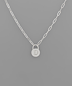 Silver Padlock Initial Necklace