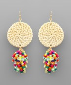 Rattan Disc & Bead Tassel Earrings