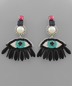 Beaded Eye Drop Earrings