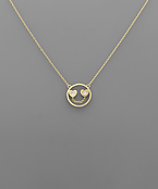 Heart Eyes Smiley Face Brass Necklace