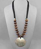 Blacklip Shell & Wood Necklace