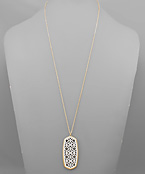 Color Coat Filigree Hexagon Necklace