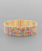 Rainbow 7 Row Crystal Cuff