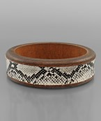 Snake Skin Leather Wood Bracelet