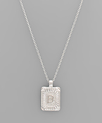 Rhdoium Rectangle Initial Necklace