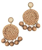 Rattan Disc & Wood Ball Earrings