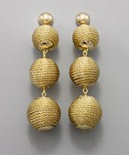 3 Thread Wrapped Ball Earrings