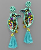 Bead Bird & Tassel Earrings