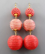 Thread Wrapped 3 Ball Earrings