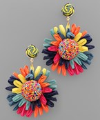 Bead Dome Raffia Flower Earrings