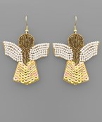 Bead & Sequin Angel Earrings