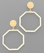 Color Coat Octagon & Disc Earrings
