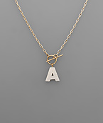 Acetate Initial Toggle Necklace