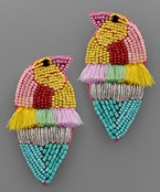Bird Bead & Taseel Earrings