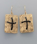 Cord Cross & Plate Earrings