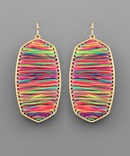 Neon Multi Thread Hexagon Earrings