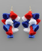 USA Multi Tassel Chandelier Earrings