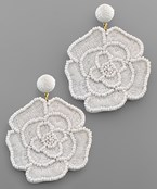 Embroidered Rose Earrings