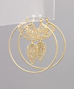 Filigree Dangle Circle Hoops