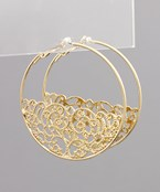 Filigree Bottom Circle Hoops