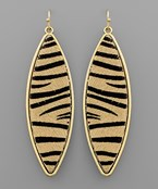 Tiger Marquise Leather Earrings
