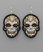 Embroidered Skull Patch Earrings