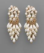 Pearl Cluster Fringe Earrings