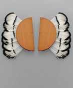 Feather & Halfmoon Wood Earrings