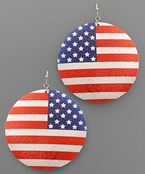 USA Flag Coat Disc Earrings