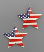 USA Flag Coat Star Earrings