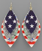 USA Flag Glitter Marquise Earrings