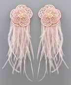 Feather Trim Flower Earrings